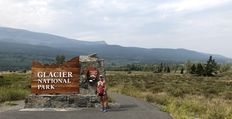 Emily at the east entrance of Glacier National Park before running