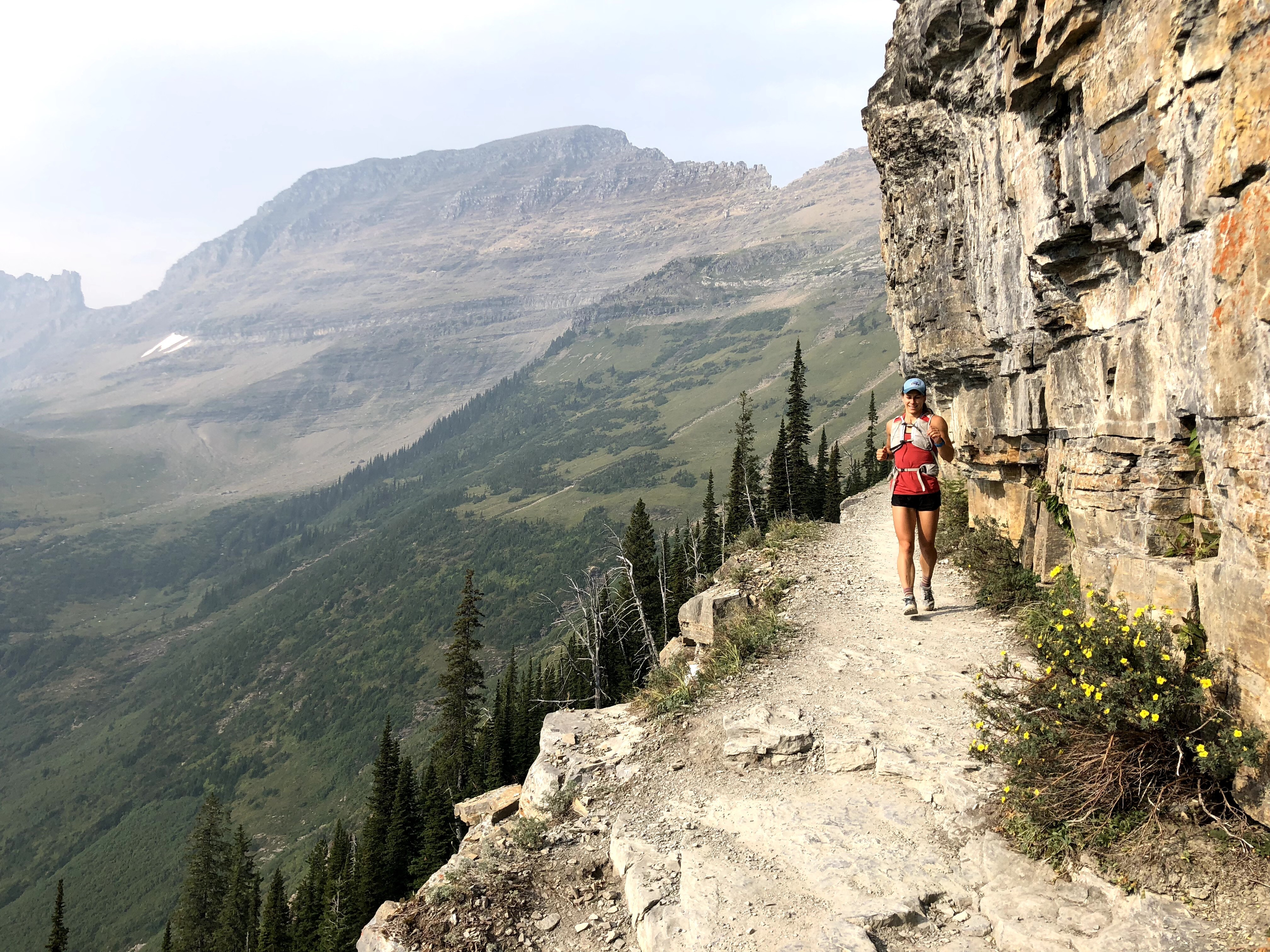Emily on high divide trail in Glacier National Park