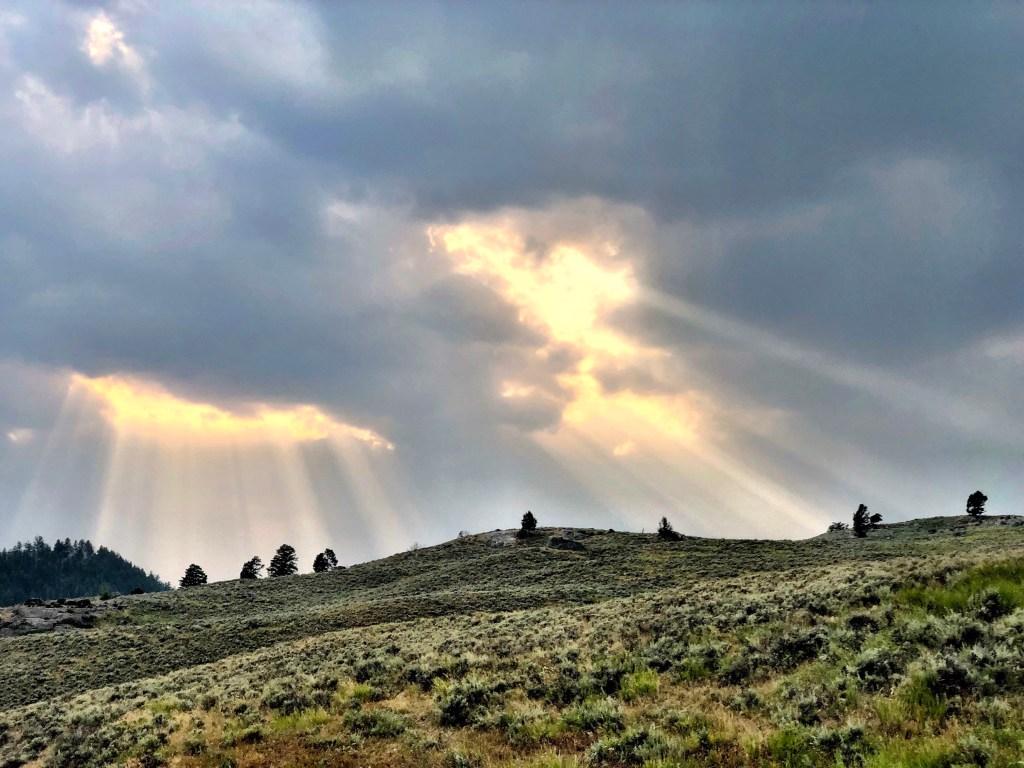 Sun streaks yellowstone national park