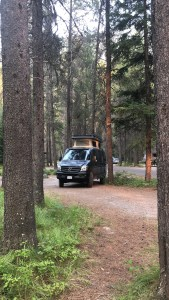 The van at Glacier National Park's Apgar Campground for a few days
