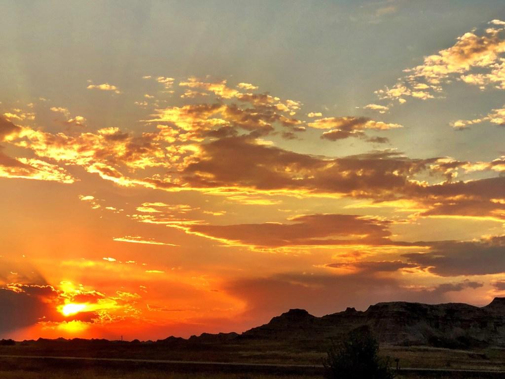 Orange Sunset in Badlands National Park from campground