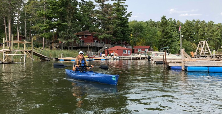 Emily kayaking near Voyageurs National Park On our way to rock gardens