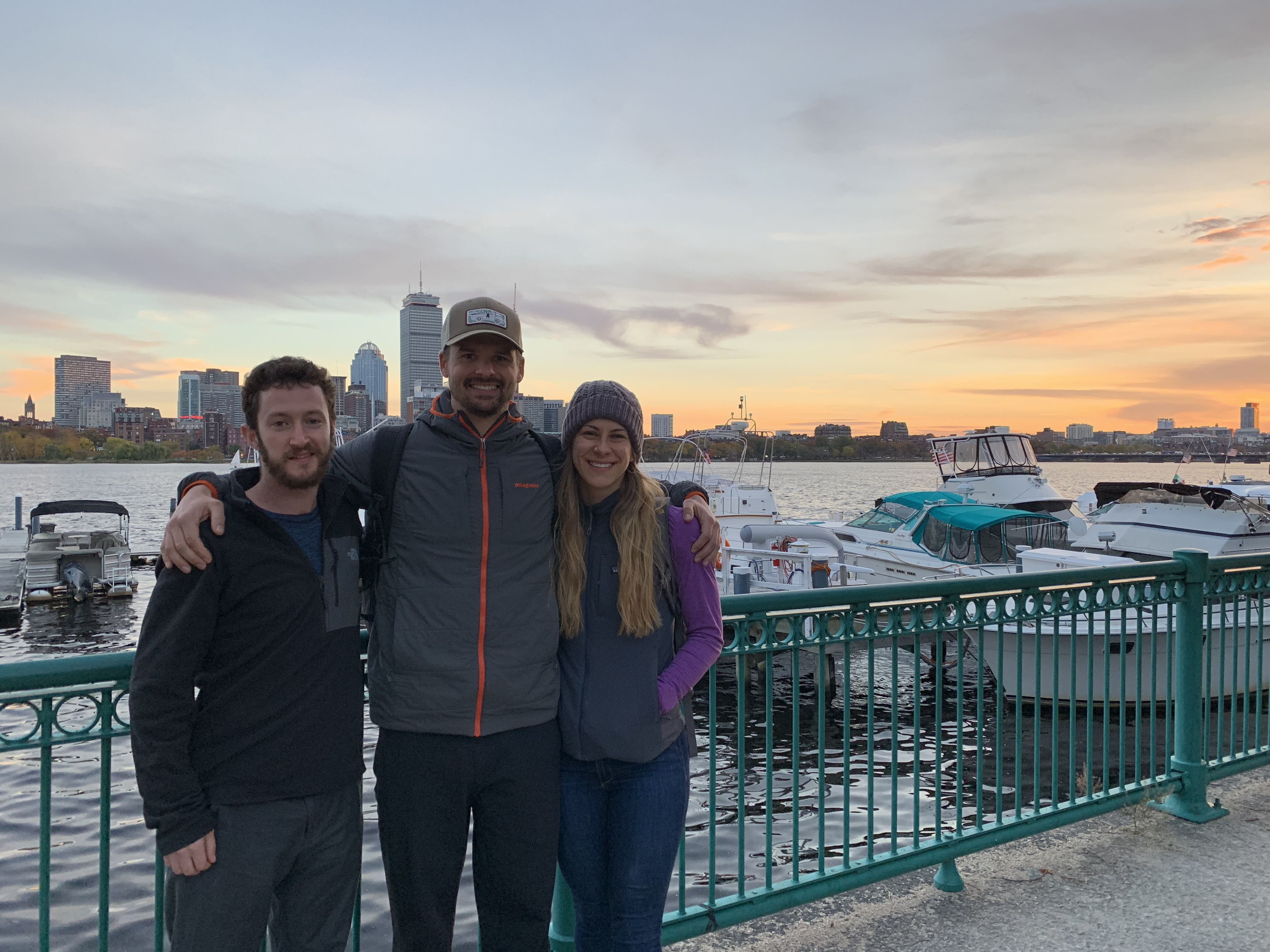 Jonathan from InsideTracker, Joe and Emily in Boston by the Charles River