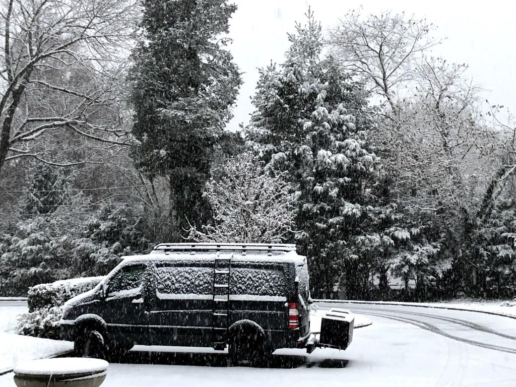 Mercedes 4x4 Sprinter van in Long Island snow