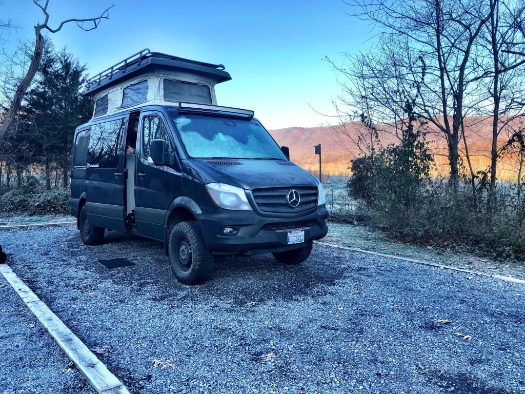 Our Mercedes Sportsmobile Sprinter van while Camping at Shenandoah River State Park