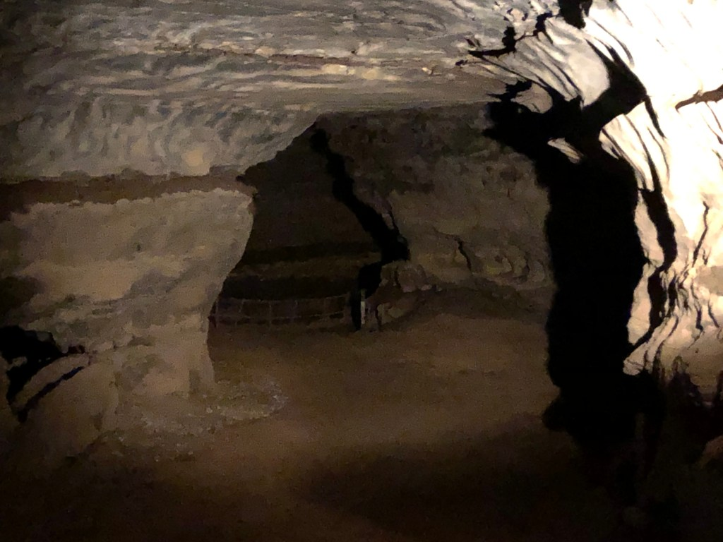 Dark tunnel on Historic Cave Tour