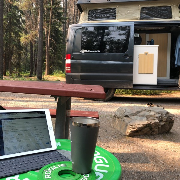 iPad and Sprinter van working from the road full time