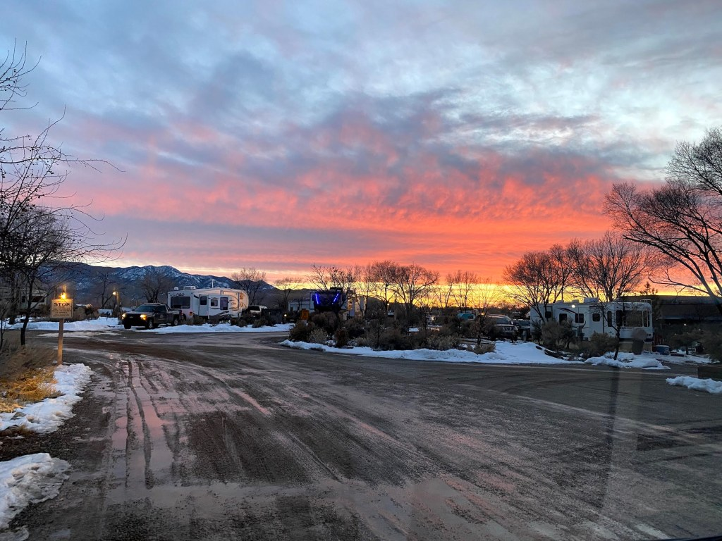Sunset at Taos Valley RV Park while chasing snow on the IKON pass