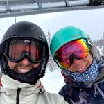 Joe and Emily riding the lift at Snowmass