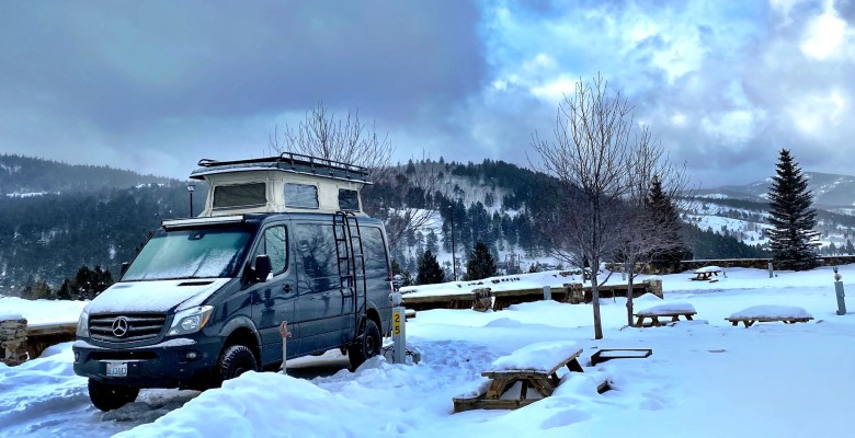 RV Camping Near IKON Pass Ski Resorts at a snowy KOA in Colorado in our Sprinter Van
