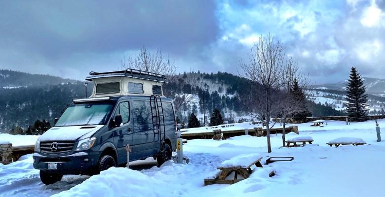 RV Camping Near IKON Pass Ski Resorts at a snowy KOA in Colorado in our Sprinter Van