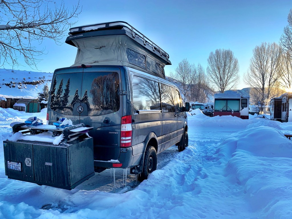 Momentum Vans Sportsmobile Mercedes Sprinter van parked at KOA in Steamboat Springs