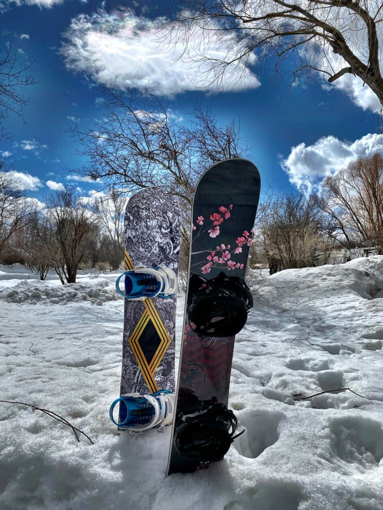 Snowboards Parked after a day of snowboarding at Jackson Hole