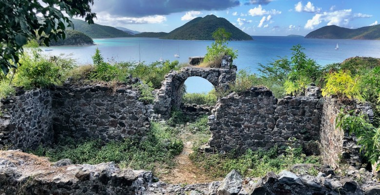 Hole in the rock at ruins at US Virgin Islands National Park