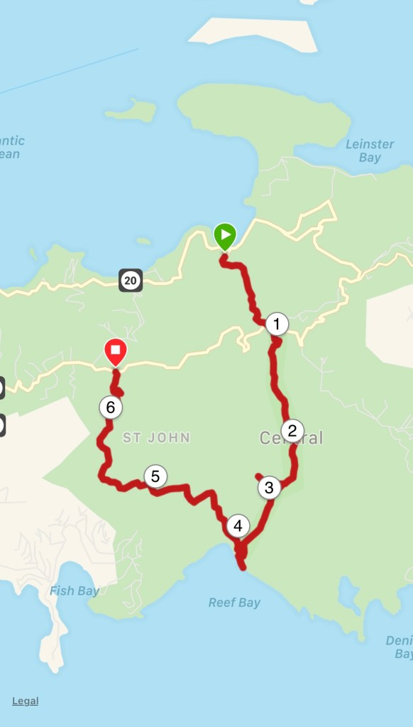 Trail Running in US Virgin Islands National Park Garmin map