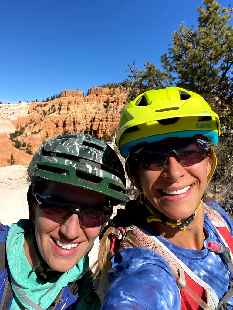 Sarah and Emily during Moab mountain bike session