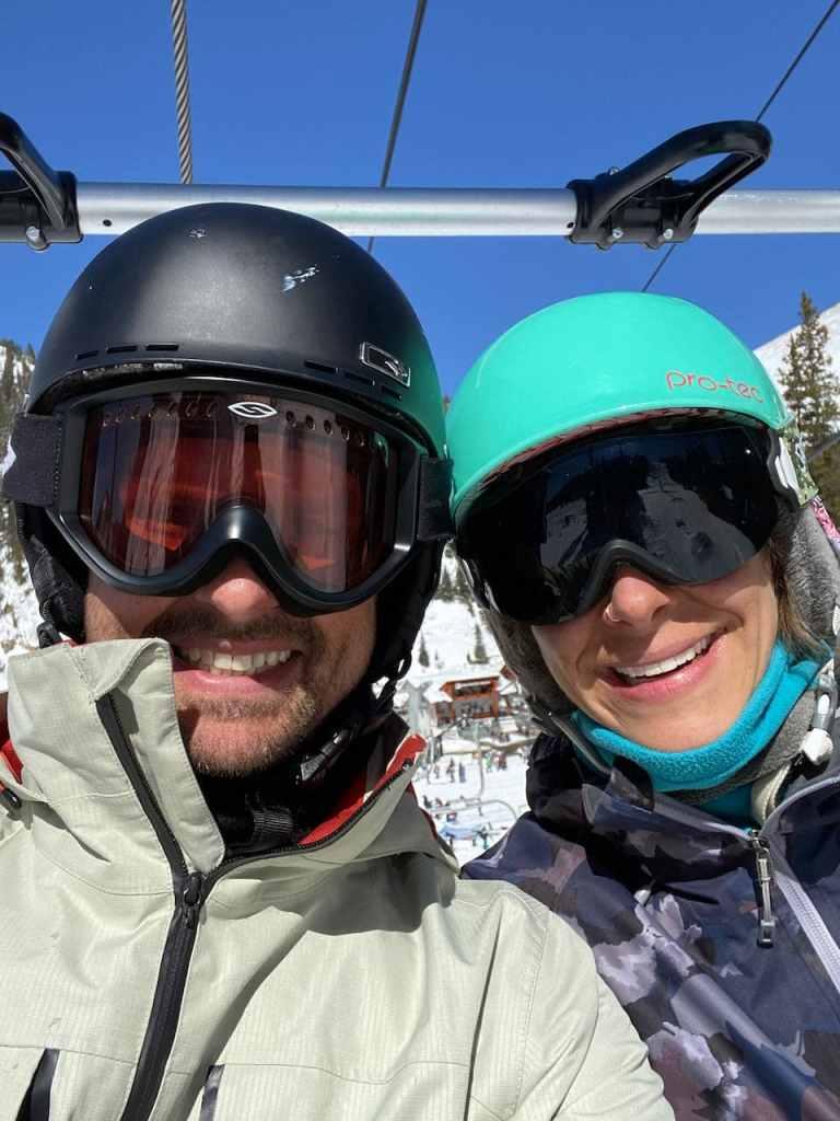 Joe and Emily snowboarding at Arapahoe Basin