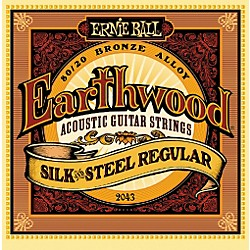 Ernie Ball 2043 Earthwood 80/20 Bronze Silk and Steel Acoustic Guitar Strings Standard