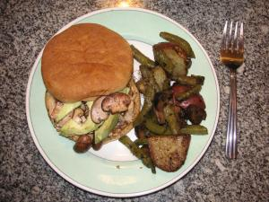Vegan Roasted Veggies w/ Garbanzo Burgers