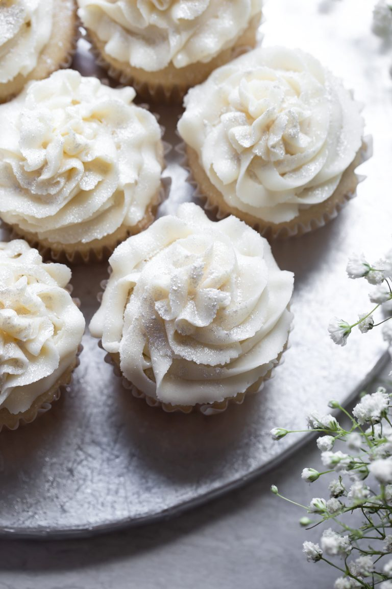 Vegan Vanilla Cupcakes  Gluten free    The Vegan 8 A light dusting of silver powder was just the best touch to these  beautifully white wedding cupcakes