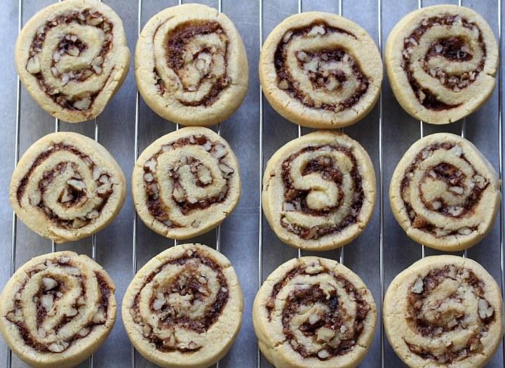 Image of 12 Pecan Cinnamon Swirl Cookies, on a cooling rack
