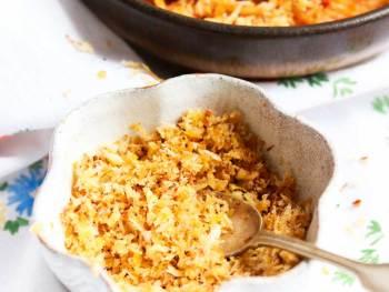 Vegan Parmesan aka Pangritata for pasta in a bowl