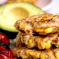 Aussie Breakfast Corn Fritters with Roasted Tomatoes