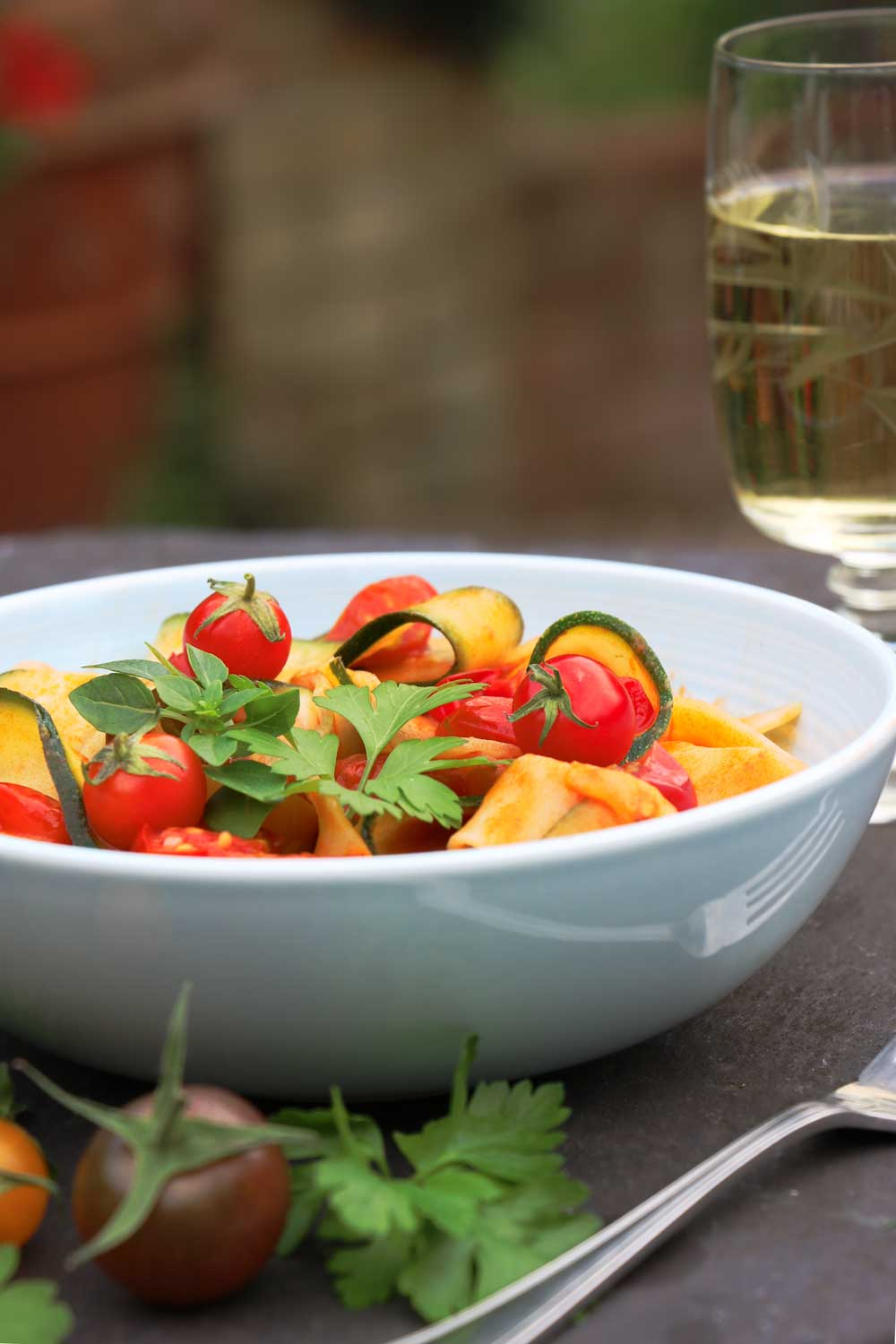 Courgette Pasta with wine