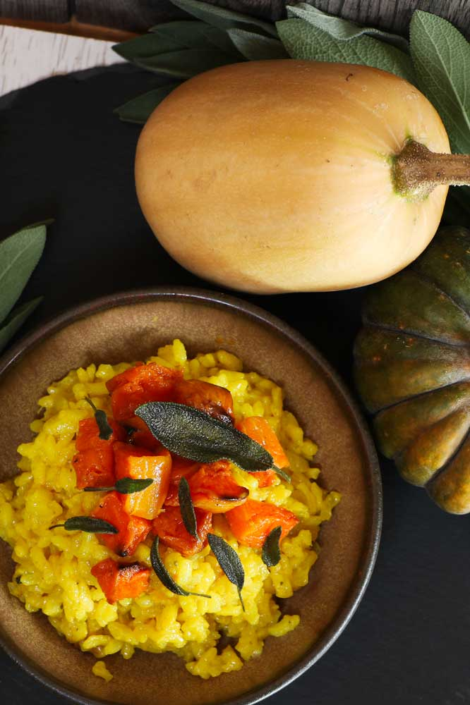 Butternut Squash and Crispy Sage Risotto on a plate