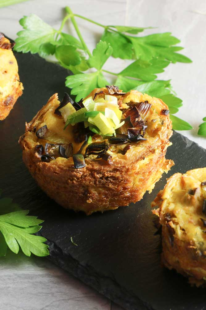 Mini Vegan Leek & Sun Dried Tomato Frittatas