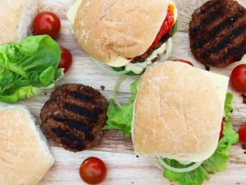 Burgers on a platter ready to serve
