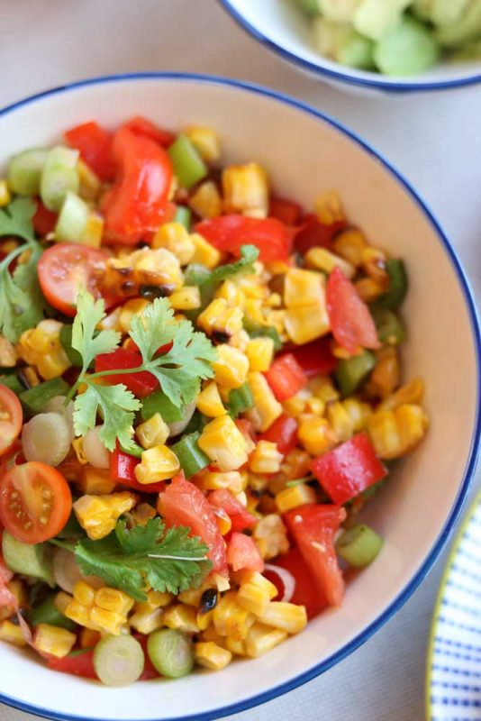 Close up of Charred Chopped Corn Salad