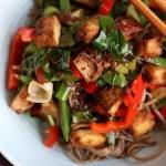 Crunchy Tofu, Veggies and Soba Noodle stir fry up close
