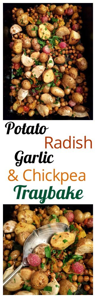 Pinterest Potato, Radish, Garlic & Chickpea Traybake