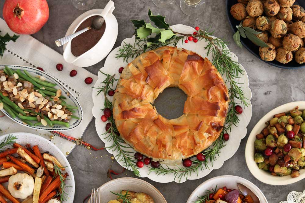Chestnut, Mushroom & Squash Christmas Filo Wreath Pie