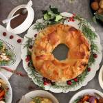 Christmas Dinner Wreath Full table of food