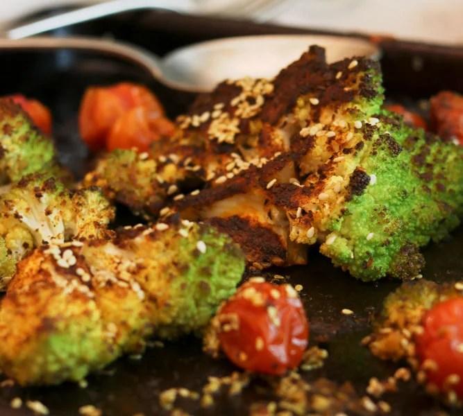 Ebb Tides Romanesco, Tomato, Sesame traybake