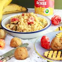 Ackee and Tofuish with Fried Dumplings and Plantain