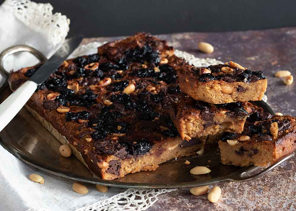 Chocolate Blueberry and peanut blondies