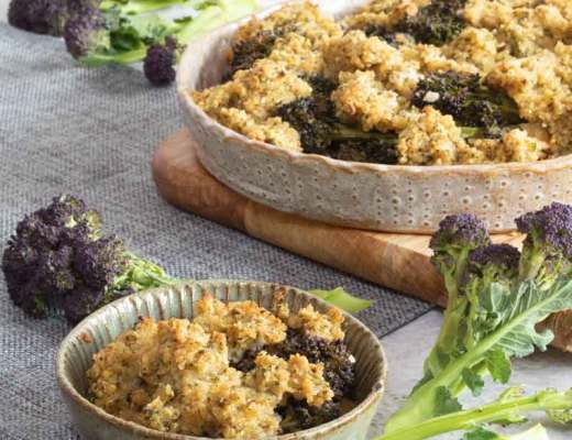 Purple Sprouting Broccoli White Bean Gratin with Broccolin in the background
