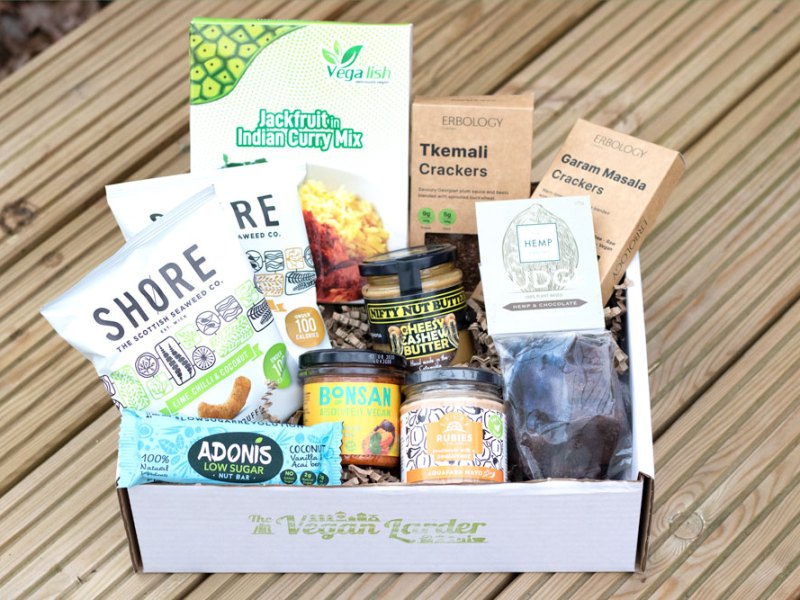 The Vegan Larder April Box stuffed full of yummy goodies to try