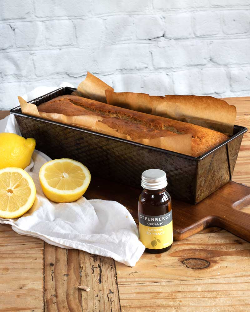 Lemon and Poppy Seed Cake in the tin with Steenburgs lemon essence