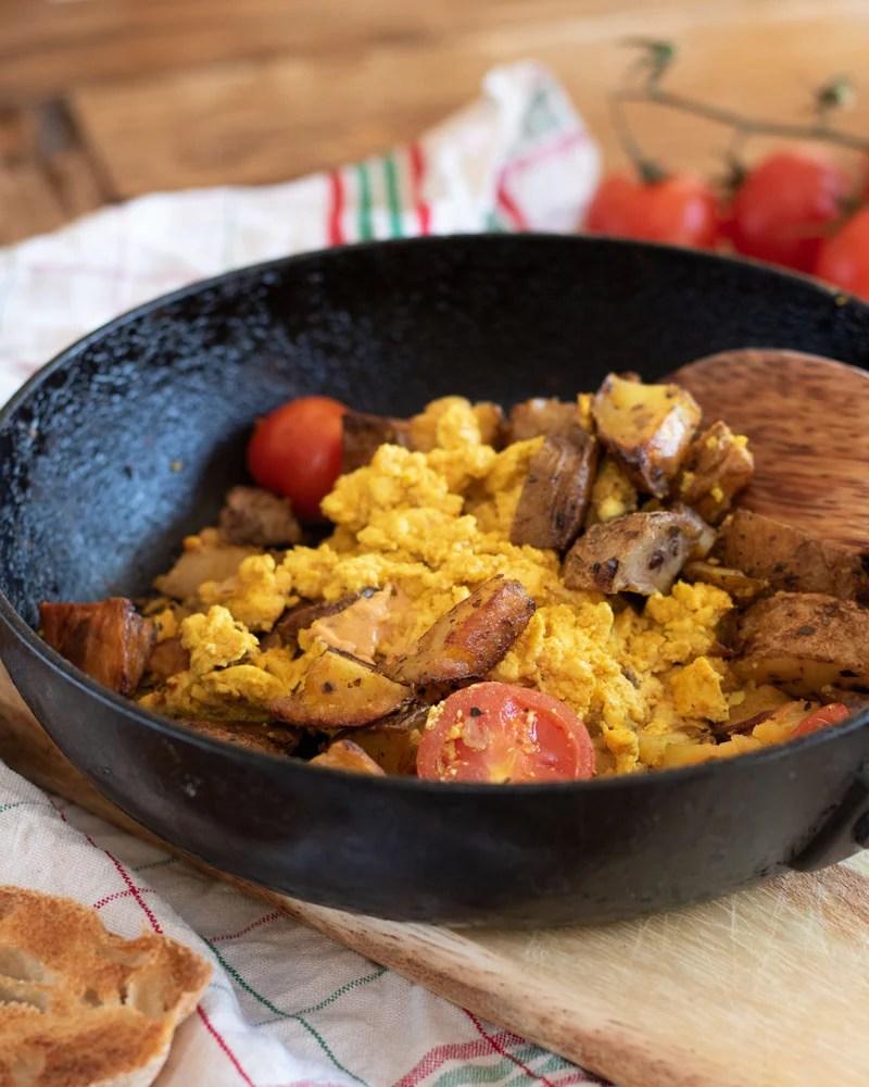 Vegan Breakfast Hash and Scramble in a pan