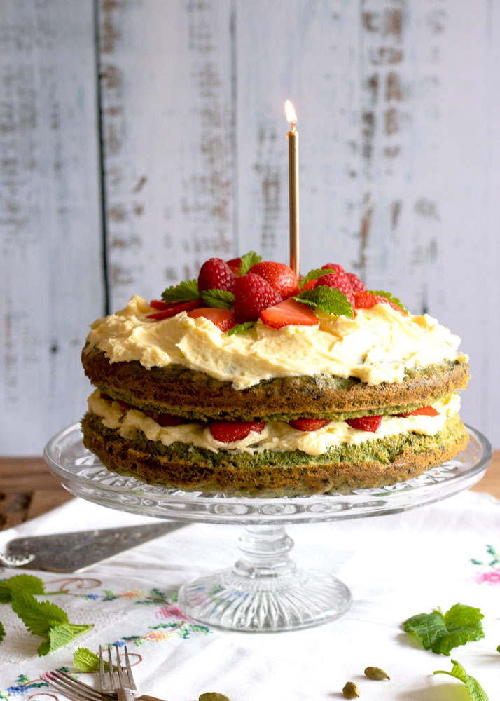 Vegan Cardamom & Spinach Celebration Cake