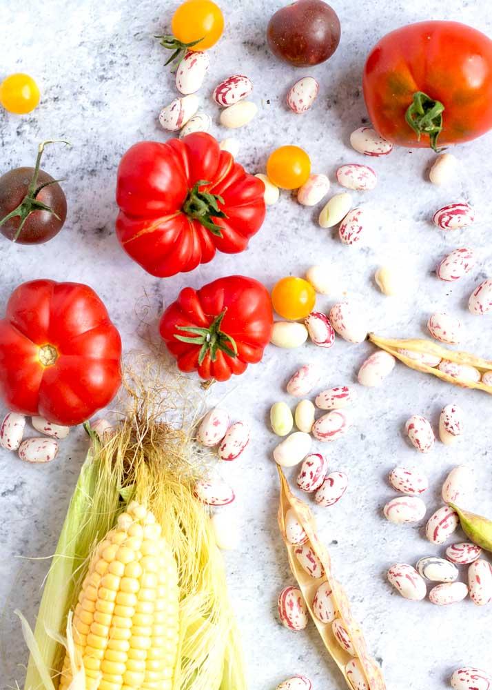 Tomatoes, Corn and Borlotti Beans laid out artistically