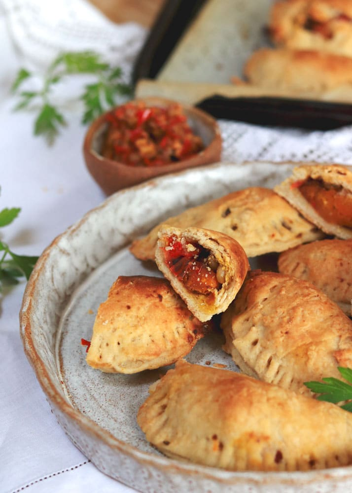 Vegan Spiced Butternut Empanadas on a plate