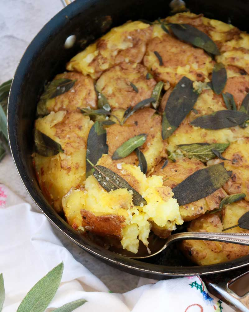 Vegan Smashed Potato & Sage Rösti in the pan