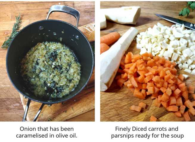 Onions caramelised properly and carrots and parsnips diced