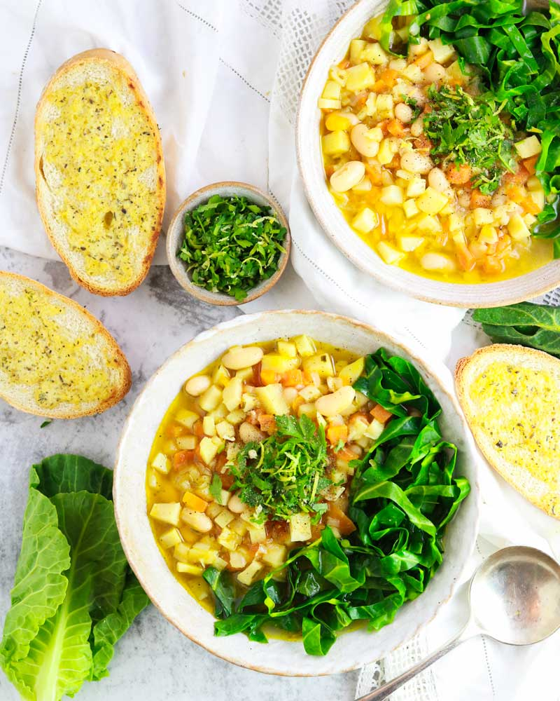 Delicious Spring Minestrone Soup with gremolata sprinkled over