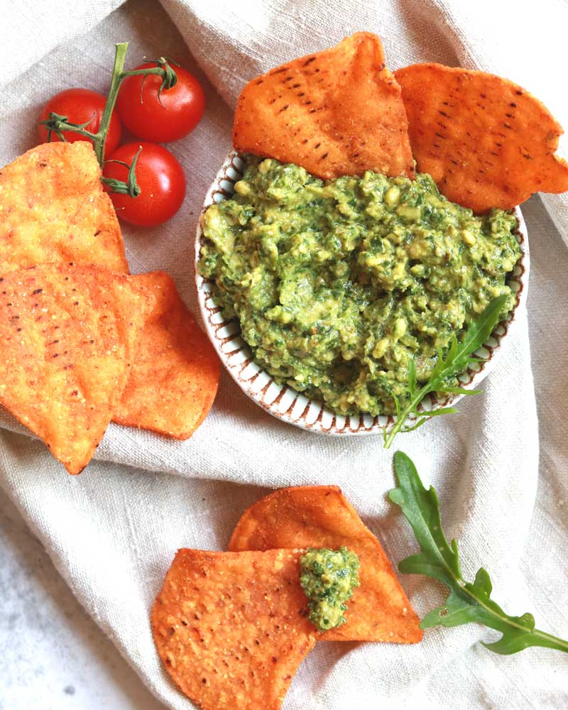 Chunky Rocket, Olive & Cashew Pesto dip as a Dip with tortilla crisps